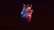 canvas print picture Silver Anatomical Heart with Red Blue Moody 80s lighting Front 3d illustration 3d render