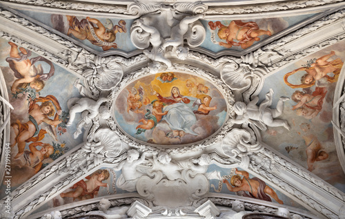COMO, ITALY - MAY 10, 2015: The baroque fresco of Assumption of Virgin Mary in side nave of church Chiesa di San Agostino by Morazzone from 16. cent.