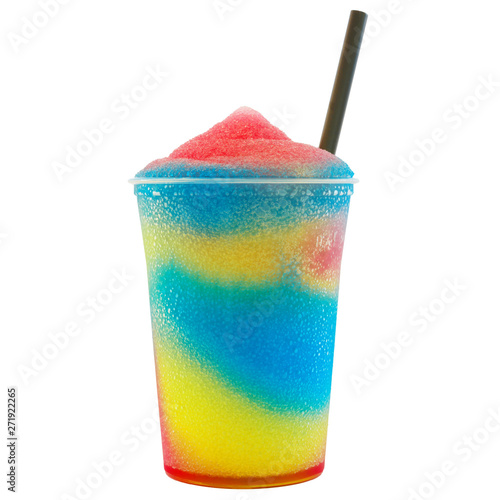 Colored slush ice in a cup
