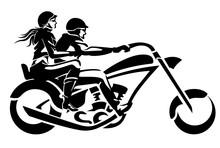 Chopper Rider Couple, Side Vie...