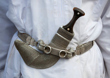 Khanjar With Carved Silver Sheath In The Belt, Sinaw, Oman