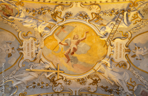 COMO, ITALY - MAY 10, 2015: The baroque fresco of Resurrection of Jesus with the instrumenst of passion in church Chiesa di San Agostino by Morazzone from 16. cent.