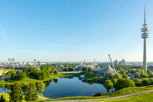 Foto op Canvas Stadion Olympia Park in Munich in the Morning