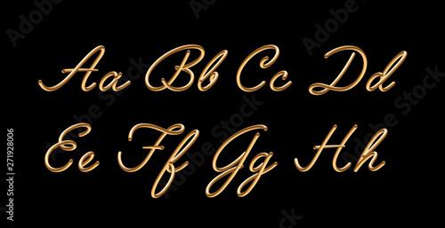 3D gradient golden blend vector alphabet design Canvas Print