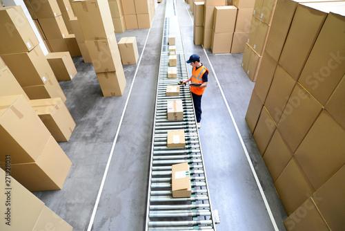Obraz na płótnie Arbeiter im Versandlager eines Onlinehandels mit Barcodescanner am Fliessband mi