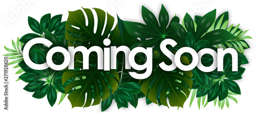 Coming soon word and green tropical's leaves background Wallpaper Mural