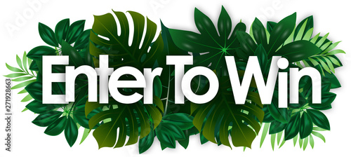 Valokuva  Enter to win word and green tropical's leaves background