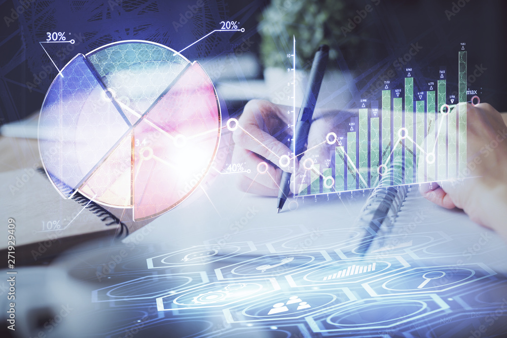 Fotografie, Obraz  Financial forex graph drawn over hands taking notes background