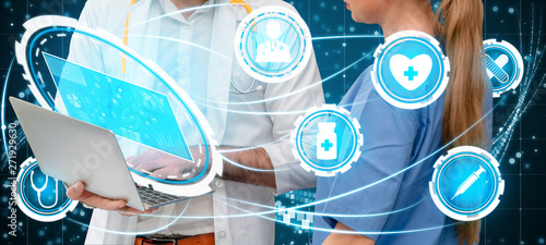 Photo  Medical Healthcare Concept - Doctor in hospital with digital medical icons graphic banner showing symbol of medicine, medical care people, emergency service network, doctor data of patient health