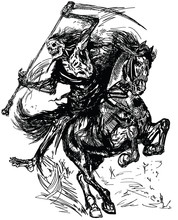 Grim Reaper Horseman Holding A Scythe And Sitting On Horseback. Dark Rider Of The Death. Horse In The Gallop .Black And White Tattoo Style Vector Illustration