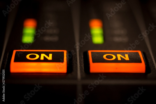 Fotografie, Obraz  Closeup view of Faders on Professional Audio Digital Sound Mixing Control Console