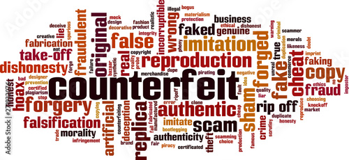 Fotografering  Counterfeit word cloud