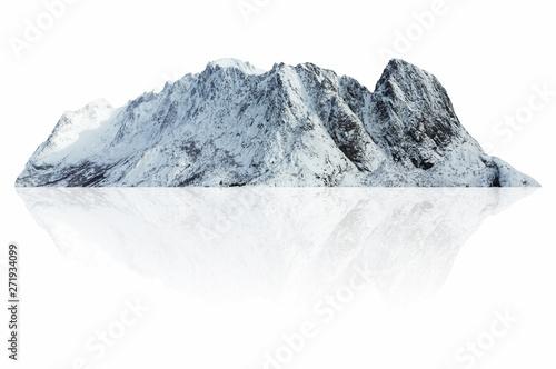 Foto auf Gartenposter Weiß Mountain snow isolated