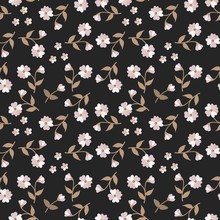 Ditsy Seamless Elegant Pattern With Small White Flowers Isolated On Black Background. Print For Fabric.