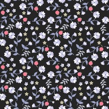 Seamless Floral Ditsy Pattern In Country Style. Small Berries, Flowers And Leaves Isolated On Black Background. Motley Natural Ornament.