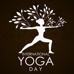 illustration of woman doing asana for International Yoga Day on 21st June - banner