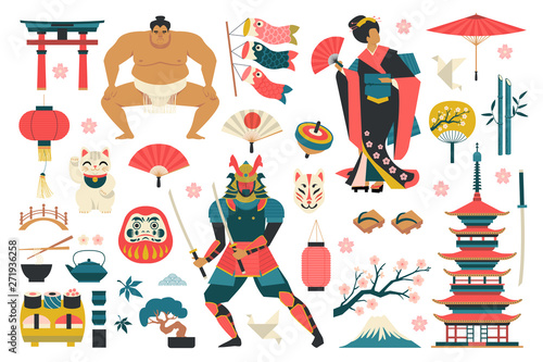 Photo  Set of japanese traditional icons vector illustration.