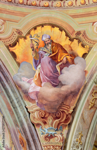 COMO, ITALY - MAY 8, 2015: The fresco of St. Ambrose doctor of the west Church in church Santuario del Santissimo Crocifisso by Gersam Turri (1927-1929).
