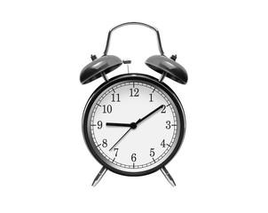 Black alarm clock isolated on white