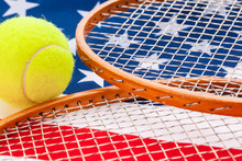 American Flag With Tennis Rack...