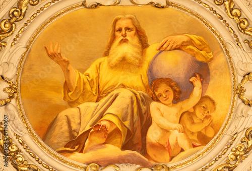 COMO, ITALY - MAY 8, 2015: The fresco of God the Creator in church Santuario del Santissimo Crocifisso by Gersam Turri (1927-1929).