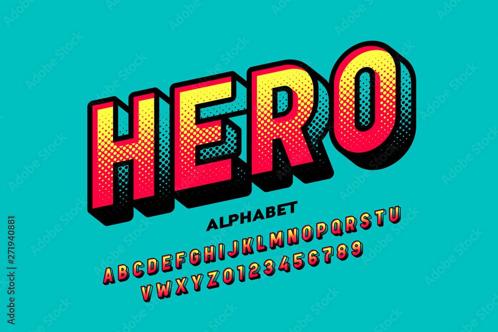 Komiksowa czcionka w stylu superbohatera, litery i cyfry