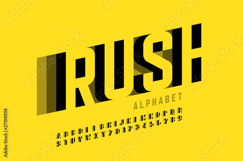 Photo Speed style font design, alphabet letters and numbers