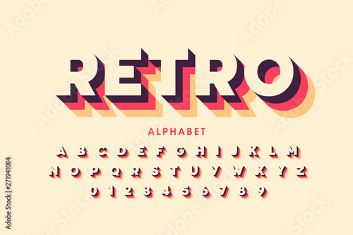 Retro style font design, alphabet letters and numbers - 271941084