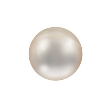 Shimmering Beautiful White Natural Nacreous Pearl Isolated On White Background Close Up