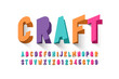 Paper craft style font design, alphabet letters and numbers