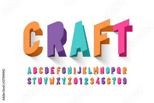 Foto Paper craft style font design, alphabet letters and numbers