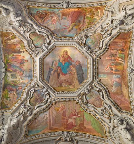 MENAGGIO, ITALY - MAY 8, 2015: The neobaroque ceiling fresco of Madonna of Rosary in church chiesa di Santo Stefano by Luigi Tagliaferri (1841-1927).