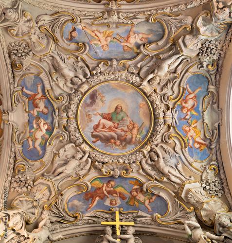 MENAGGIO, ITALY - MAY 8, 2015: The neobaroque ceiling fresco of God the Creator in church chiesa di Santo Stefano by Luigi Tagliaferri (1841-1927).