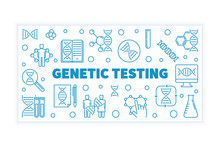 Genetic Testing Vector Blue Outline Horizontal Banner With White Background