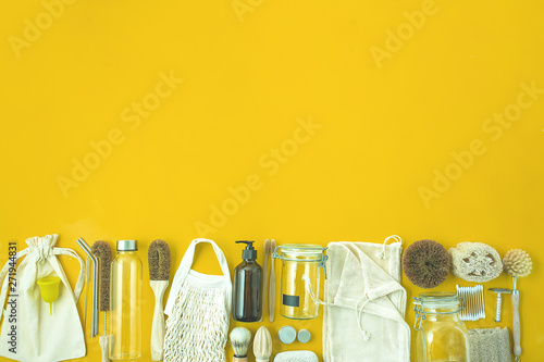 Fotografia, Obraz  zero waste lifestyle kit on yellow background with copy space