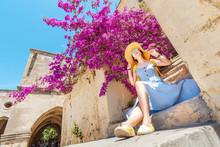 Elegant Woman In Hat Posing Ne...