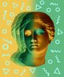 canvas print picture Modern conceptual art poster with green yellow antique Venus de Milo bust. Contemporary art collage.