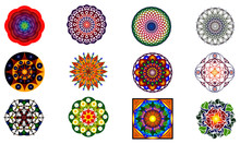 Set Of 12 Style Ornament Original  Mandalas