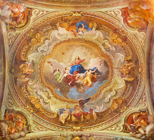 COMO, ITALY - MAY 8, 2015: The ceiling fresco of Assumption of Virgin Mary in church Santuario del Santissimo Crocifisso by Gersam Turri (1927-1929).