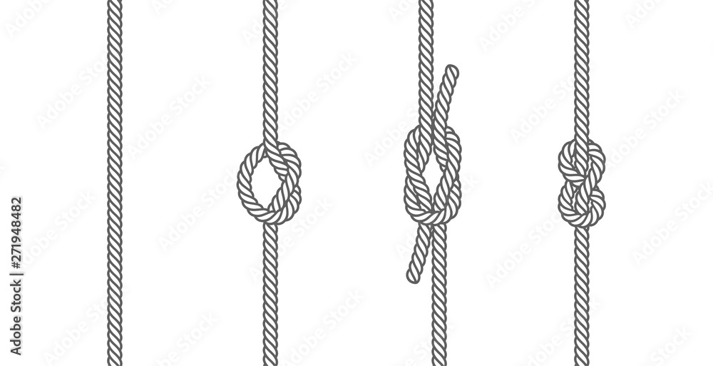 Fototapeta Rope knots borders line set design element different types. vector illustration of knot border