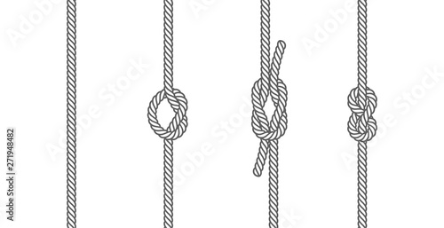 Vászonkép Rope knots borders line set design element different types