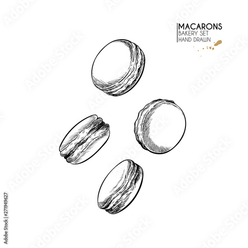 Aluminium Prints Macarons Bakery set. Hand drawn isolated macaron cookies. Traditional sweet french bakery. Vector engraved icon. For restaurant and cafe menu, baker shop, bread, pasty, sweets. Design template.