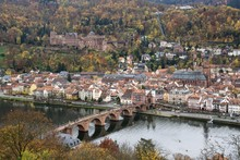 View From Philsophenweg To Neckar, Old Bridge, Also Carl Theodor Bridge And Historic Centre In Autumn, Heidelberg, Baden-Wurttemberg, Germany, Europe