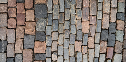 Fotomural Surface of old colorful square paving stones