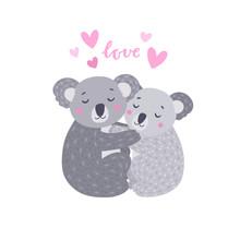 Koala Bears Hugging Couple On White Background. Vector Animal Illustration With Bear Family