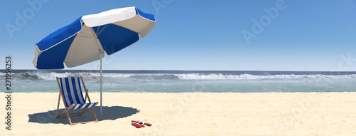 Obraz Summer beach scene with sunbed and sea with waves - fototapety do salonu