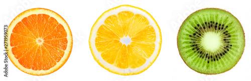 Orange, lemon, kiwi slices Isolated on white. Set pieces of fruits - 271959073