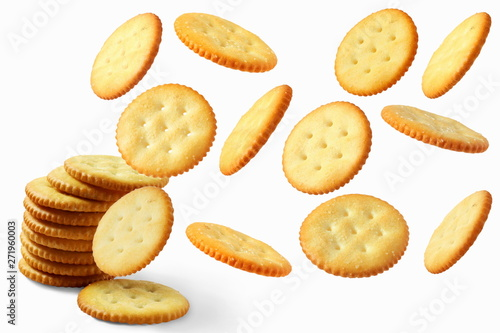 Fényképezés Top view of round salted snack cracker cookie isolated on white background