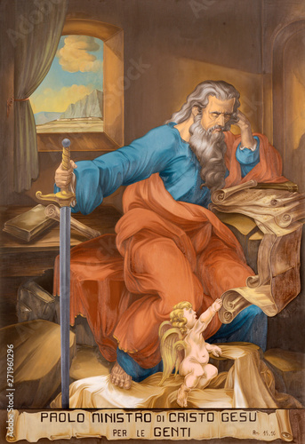ACIREALE, ITALY - APRIL 11, 2018: The fresco of St. Paul the Apostle in Duomo by Saro Licciardello from 20. cent.