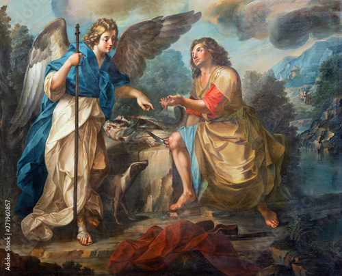 CATANIA, ITALY - APRIL 7, 2018: The detail of painting of Tobias and archangel Raphael in church Chiesa di San Benedetto by Matteo Desiderato (1780).